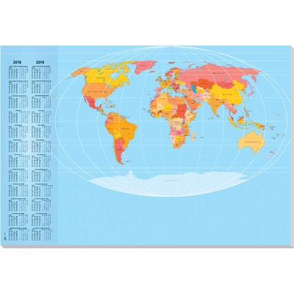 """sigel Papier-Schreibunterlage """"Weltkarte"""", 595 x 410 mm"""