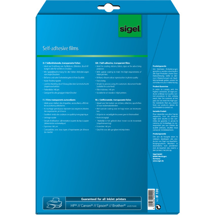 sigel Inkjet-Folie, DIN A4, transparent, klar, 140 my