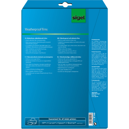 sigel Inkjet-Folie, DIN A4, weiß, opak, wetterfest, 270 my