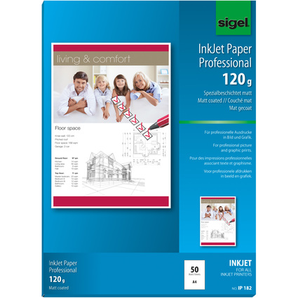 sigel Inkjet-Papier, DIN A4, 120 g/qm, hochweiß, matt