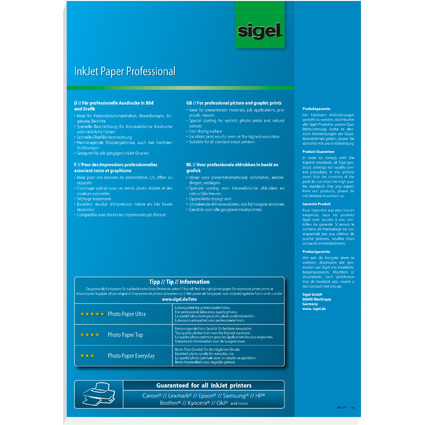 sigel Inkjet-Papier, DIN A3, 160 g/qm, hochweiß, matt