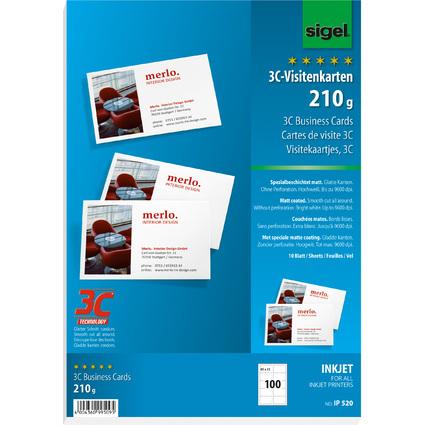 sigel Visitenkarten 3C, 85 x 55 mm, 210 g/qm, hochweiß