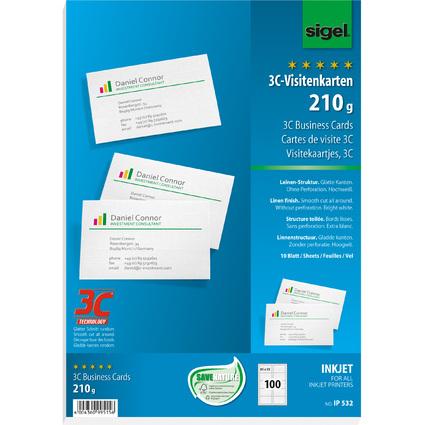 sigel Visitenkarten 3C, 85 x 55 mm, Leinen-Struktur