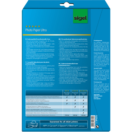 sigel Ultra-Foto-Papier, DIN A4, hochglänzend, 190 g/qm