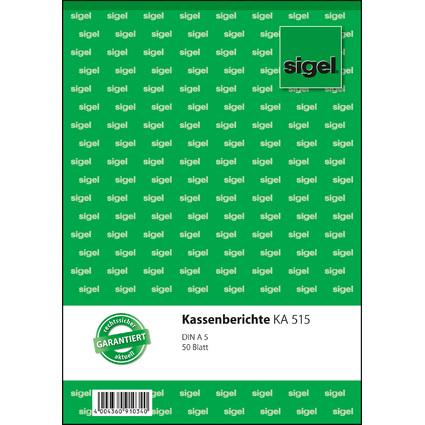 """sigel Formularbuch """"Kassenbericht"""", A5, 50 Blatt"""