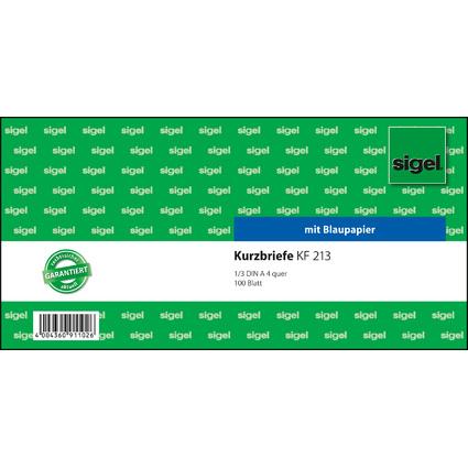 """sigel Formularbuch """"Kurzmitteilung/Kurzbrief"""", 1/3 A4 quer"""