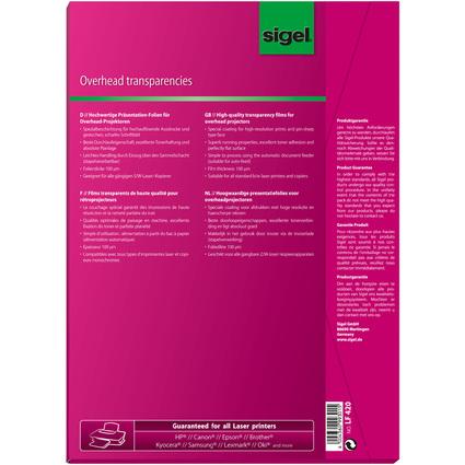 sigel Schwarz/Weiß-Laserdrucker-/Kopier-Folie, transparent
