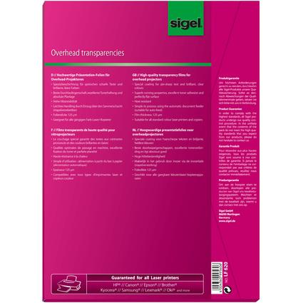 sigel Farb-Laserdrucker-/Kopier-Folie, DIN A4, transparent