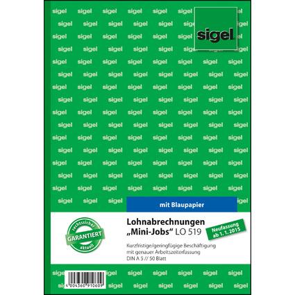 "sigel Formularbuch ""Lohnabrechnung für Mini-Jobs"", A5"