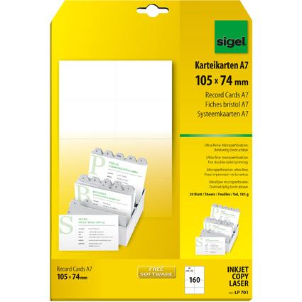 sigel PC-Karteikarten, A7 (A4), weiß, 185 g/qm, MP