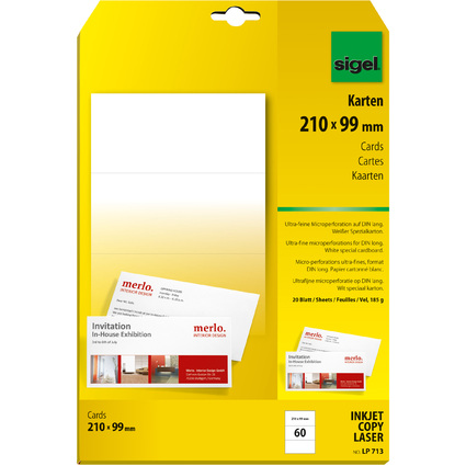 sigel PC-Korrespondenz-Karten, DIN lang, weiß, 185 g/qm, MP