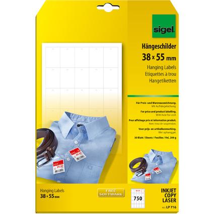 sigel Hängeschilder, 38 x 55 mm (A4), weiß, 200 g/qm