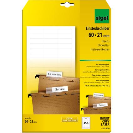 sigel PC-Einsteckschilder für Hängemappen, 60 x 21 mm, weiß