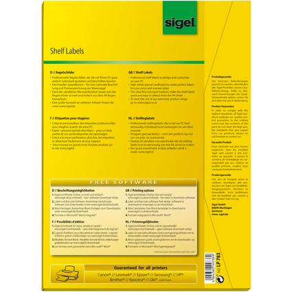 sigel Regalschilder, 105 x 38 mm, weiß, 170 g/qm