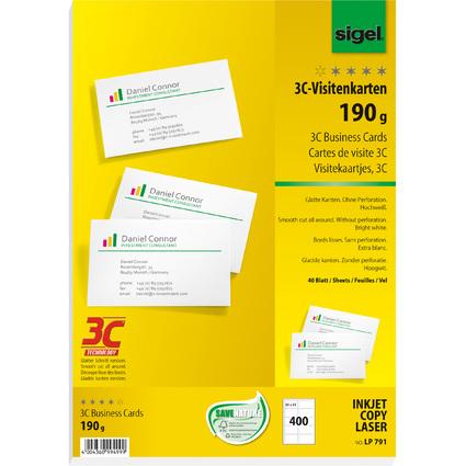 sigel PC-Visitenkarten, 85 x 55 mm, 190 g/qm, hochweiß