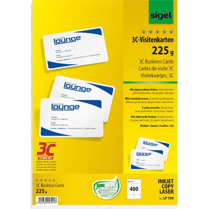 sigel PC-Visitenkarten, 85 x 55 mm, 225 g/qm, hochweiß