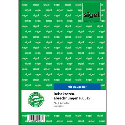 """sigel Formularbuch """"Reisekostenabrechnung"""", A5, 50 Blatt"""