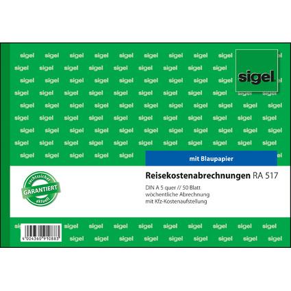 """sigel Formularbuch """"Reisekostenabrechnung"""", A5 quer"""