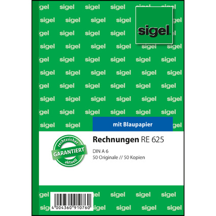"sigel Formularbuch ""Rechnung"", A6, 2 x 50 Blatt"