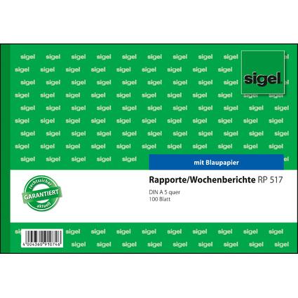 """sigel Formularbuch """"Rapport/Wochenbericht"""", A5 quer"""