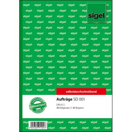 """sigel Formularbuch """"Auftrag"""", A5, 2 x 40 Blatt, SD"""