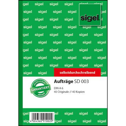 """sigel Formularbuch """"Auftrag"""", A6, 2 x 40 Blatt, SD"""