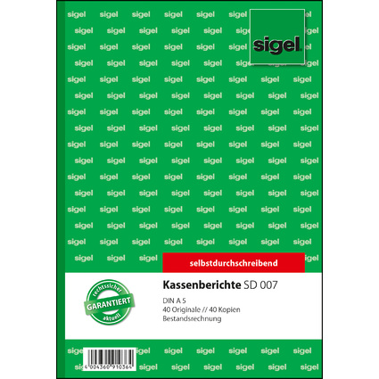 """sigel Formularbuch """"Kassenbericht/Bestandsrechnung"""", A5"""