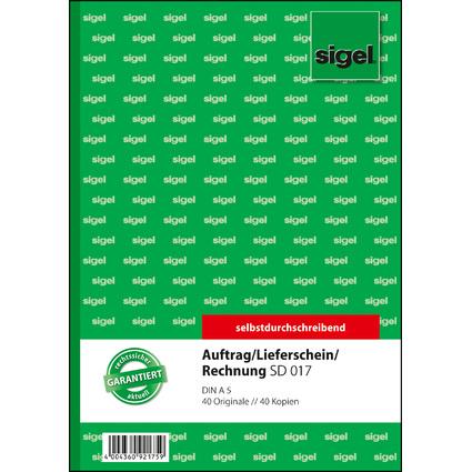 """sigel Formularbuch """"Auftrag/Lieferschein/Rechnung"""", A5"""