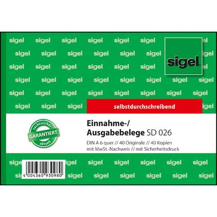 "sigel Formularbuch ""Ausgabe-/Einnahmebeleg"", A6 quer, SD"