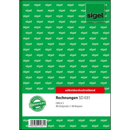 "sigel Formularbuch ""Rechnung"", A5, 2 x 40 Blatt, SD"