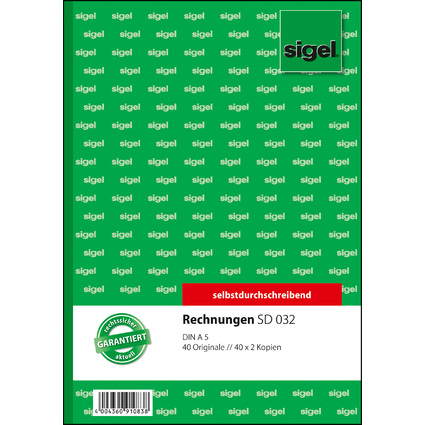"sigel Formularbuch ""Rechnung"", A5, 3 x 40 Blatt, SD"