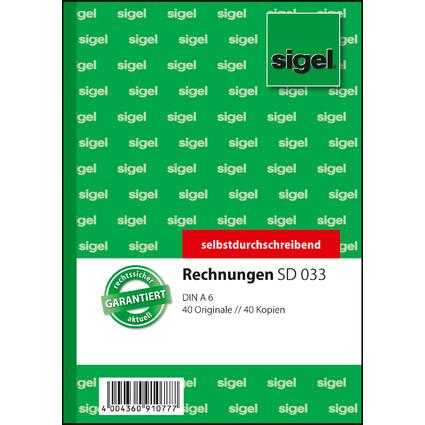 "sigel Formularbuch ""Rechnung"", A6, 2 x 40 Blatt, SD"