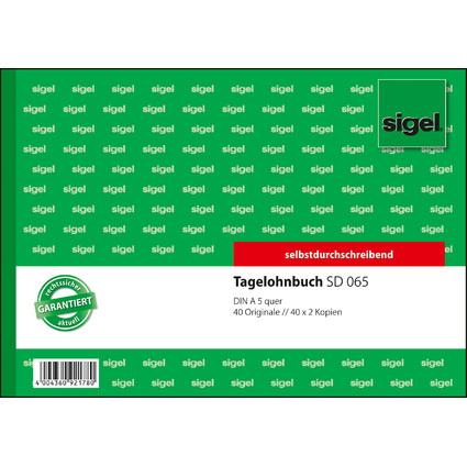 """sigel Formularbuch """"Tagelohnbuch"""", A5 quer, 3 x 40 Blatt, SD"""