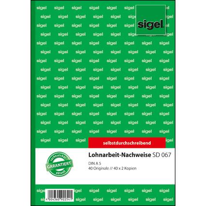 """sigel Formularbuch """"Lohnarbeits-Nachweis"""", A5, SD"""