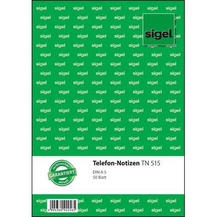 """sigel Formularbuch """"Telefon-Notiz"""", A5, 50 Blatt"""