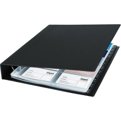 sigel Visitenkarten-Ringbuch, schwarz, matt, zweireihig