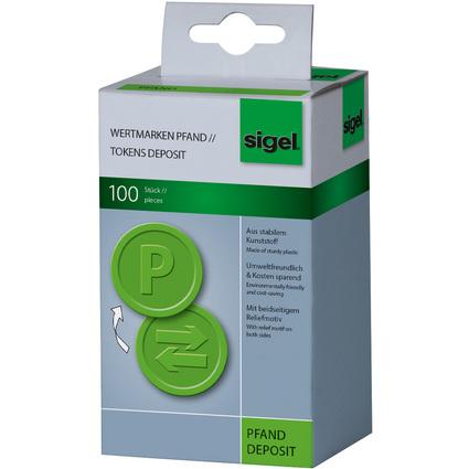 """sigel Wertmarken """"Pfand"""", aus Kunststoff, grün"""