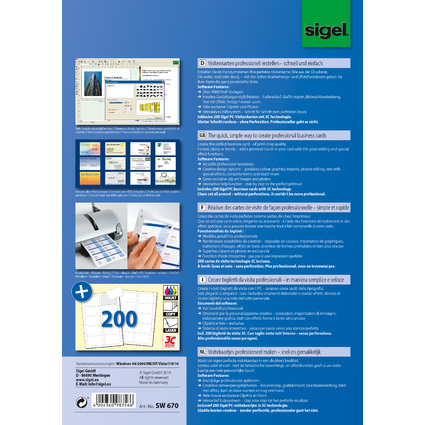 "sigel BusinessCard Software ""Deutsch"", für Visitenkarten"
