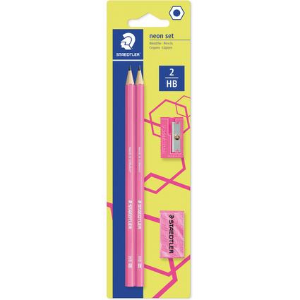 STAEDTLER Bleistift-Set WOPEX neon, Härtegrad: HB, neon-pink