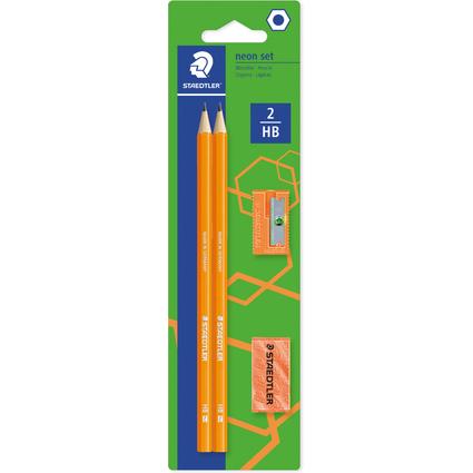 STAEDTLER Bleistift-Set WOPEX neon, Härtegrad: HB, orange