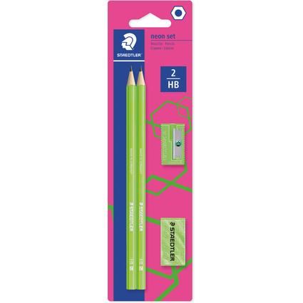 STAEDTLER Bleistift-Set WOPEX neon, Härtegrad: HB, neon-grün