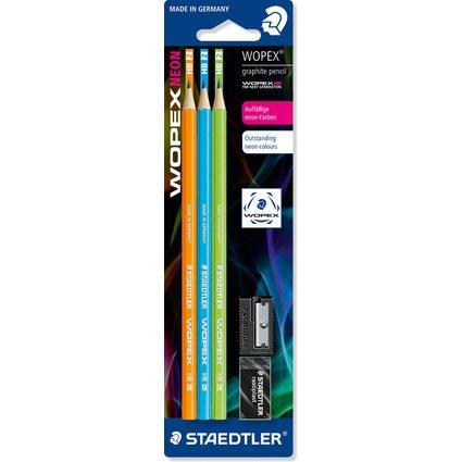 STAEDTLER Bleistift Wopex Neon, Härtegrad: HB, 3er Blister