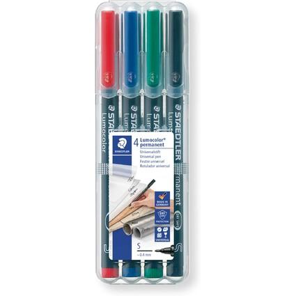 STAEDTLER Lumocolor Permanent-Marker 313S, 4er Etui