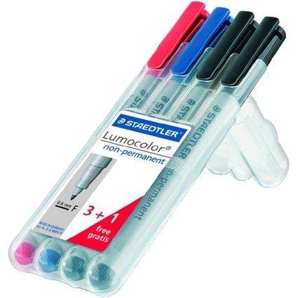 STAEDTLER Lumocolor NonPermanent-Marker 316F,3+1 gratis Etui
