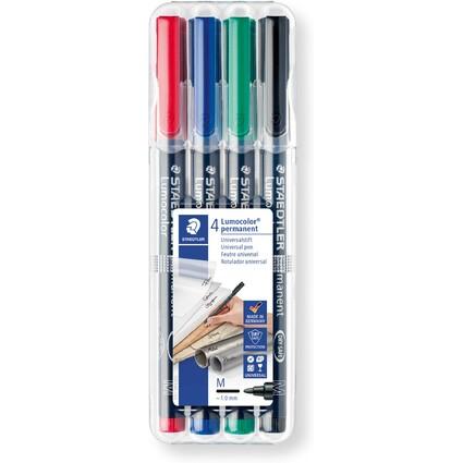STAEDTLER Lumocolor Permanent-Marker 317M, 4er Etui