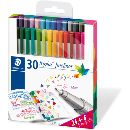 STAEDTLER Fineliner triplus BRILLIANT COLOURS, 30er Etui