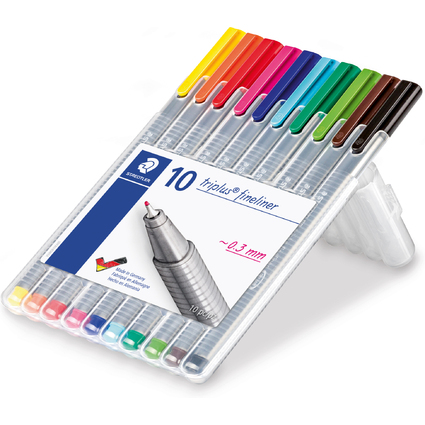 STAEDTLER Fineliner triplus BRILLIANT COLOURS, 10er Etui