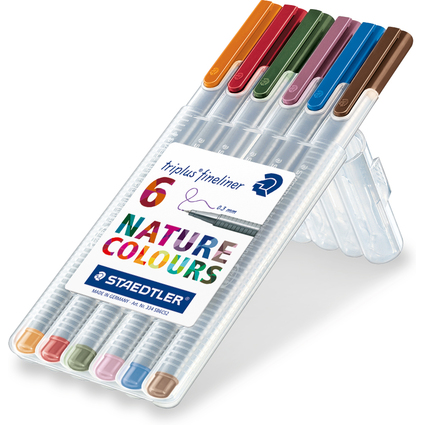 STAEDTLER Fineliner triplus NATURE COLOURS, 6er Etui