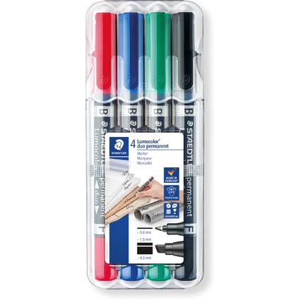 STAEDTLER Lumocolor Permanent-Marker duo,Keilspitze,4er Etui