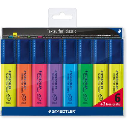 "STAEDTLER Textmarker ""Textsurfer classic"", 6 + 2 gratis"